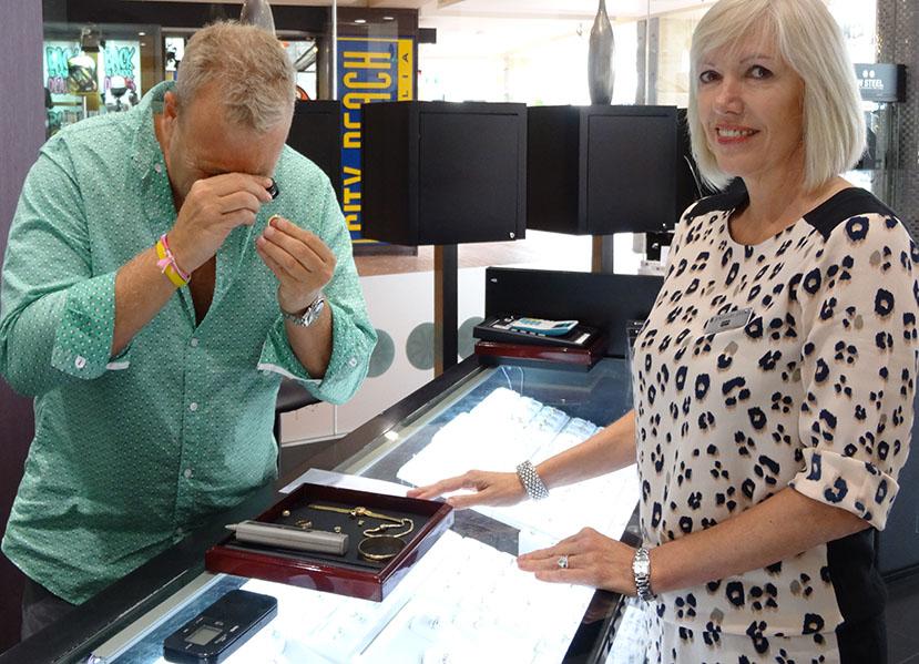 Linda-customer-checking-diamond_sell engagement ring sydney